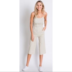 Linen Taupe Jumpsuit with Bow Detail